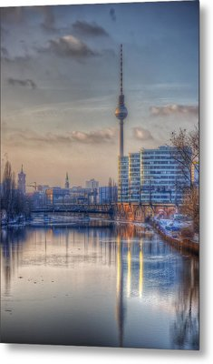 Tv Tower Sunset Metal Print