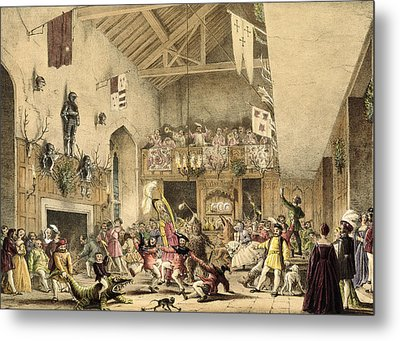 Twelfth Night Revels In The Great Hall Metal Print by Joseph Nash