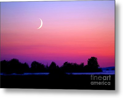 Twilight And Crescent Moon - Lummi Bay Metal Print by Douglas Taylor