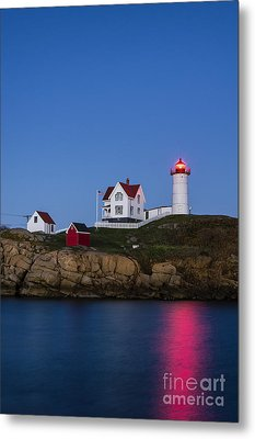 Twilight Nubble Lighthouse Metal Print by John Greim