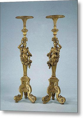 Two Candle Stands Torchères, Anonymous Metal Print