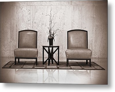 Two Chairs And A Table With A Plant  Metal Print by Rudy Umans