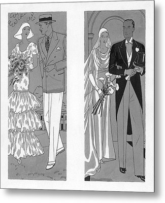 Two Couples Getting Married Metal Print