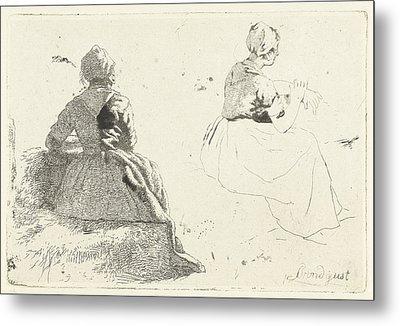 Two Figure Studies Of Peasant Woman Sitting On Hay Bale Metal Print by Artokoloro