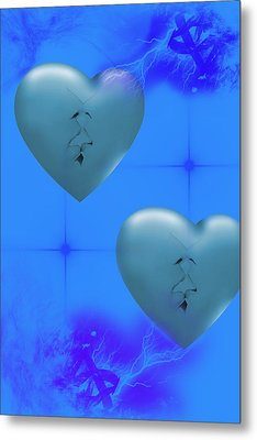 Metal Print featuring the digital art Two Hearts Together On Valentine's Day  by Angel Jesus De la Fuente