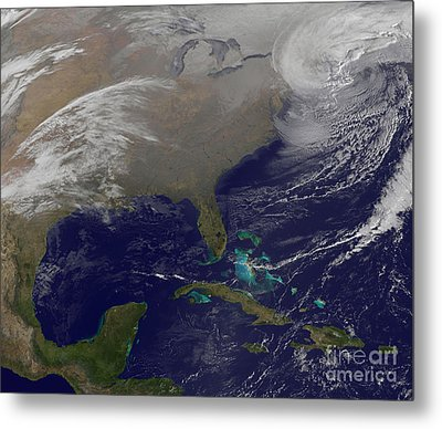 Two Low Pressure Systems Merge Together Metal Print by Stocktrek Images