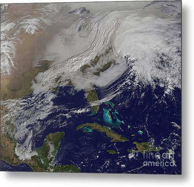 Two Low Pressure Systems Merging Metal Print by Stocktrek Images