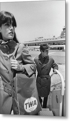 Two Models Boarding A Plane Metal Print