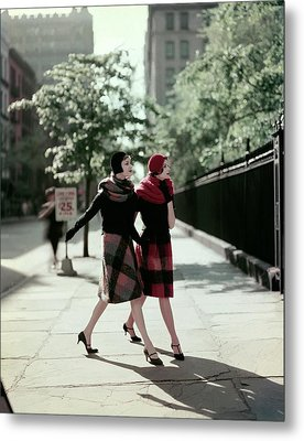 Two Models Wearing Plaid Mohair Skirts And Stoles Metal Print