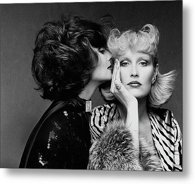 Two Models Wearing Wigs By Edith Imre Metal Print by Francesco Scavullo