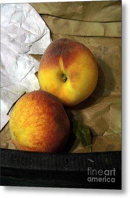 Two Peaches Metal Print by Miriam Danar