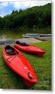 Two Red Kayaks Metal Print by Amy Cicconi