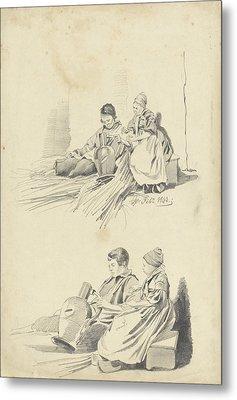 Two Studies Of A Boy And Girl With Jug, Pieter Van Loon Metal Print