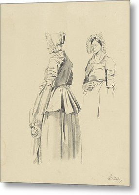 Two Studies Of A Standing Woman With Jug Metal Print