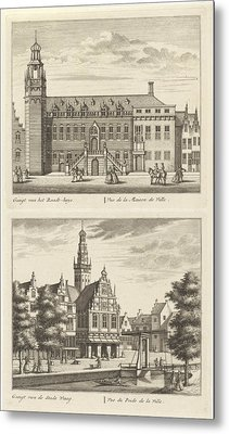 Two Views In Alkmaar With The City Hall And De Waag Metal Print