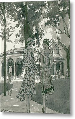 Two Women Walking In A Park Metal Print