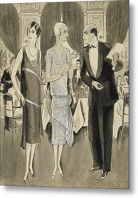 Two Women Wearing Crepe Elizabeth Dresses Metal Print by William Bolin