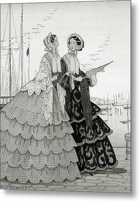 Two Women Wearing Large Dresses With Hoop Skirts Metal Print