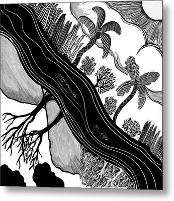 Metal Print featuring the drawing Two Worlds by Aurora Levins Morales
