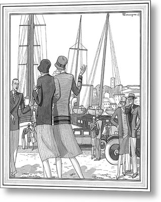 Two Young Women On The Dock At The French Riviera Metal Print