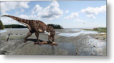 Tyrannosaurus Enjoying Seafood - Wide Format Metal Print by Julius Csotonyi
