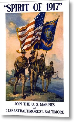 U. S. Marines Spirit Of 1917 Metal Print by Daniel Hagerman