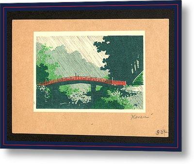 Uchu No Sinkyo, Rain Over Sacred Bridge Shinkyo Metal Print