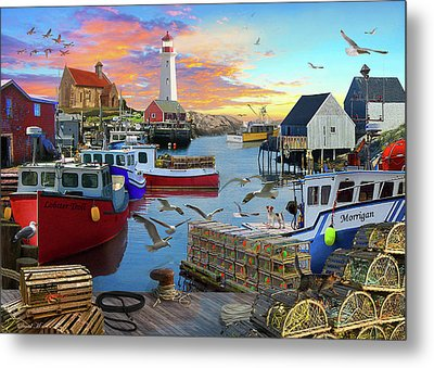 Metal Print featuring the drawing Uk Boat Cove by David M ( Maclean )