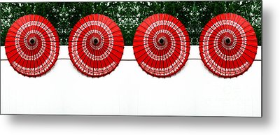Umbrellas On A Fence Metal Print by Amy Cicconi