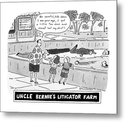 Uncle Bernie's Litigator Farm Be Careful Metal Print
