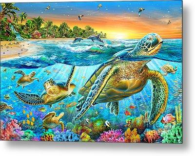 Underwater Turtles Metal Print by Adrian Chesterman