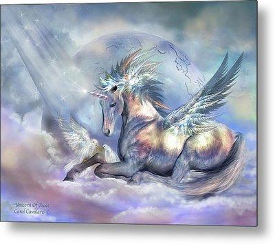Unicorn Of Peace Metal Print by Carol Cavalaris