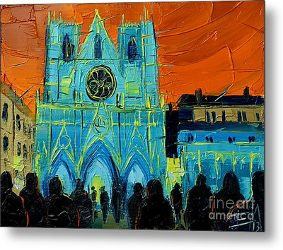 Urban Story - The Festival Of Lights In Lyon Metal Print by Mona Edulesco
