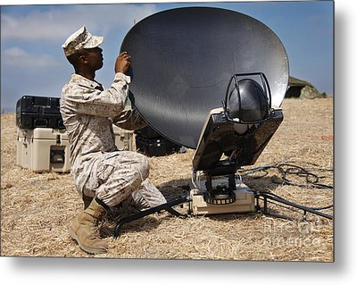 U.s. Marine Assembles A Support Wide Metal Print by Stocktrek Images