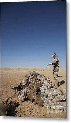 U.s. Marine Corps Officer Directs Metal Print by Stocktrek Images