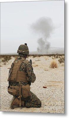 U.s. Marine Provides Security As Part Metal Print by Stocktrek Images