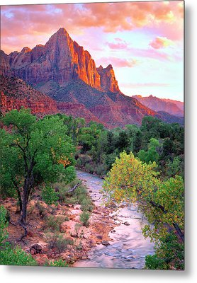Usa, Utah, Zion National Park At Sunset Metal Print by Jaynes Gallery