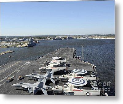 Uss Enterprise Arrives At Naval Station Metal Print by Stocktrek Images