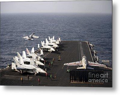 Uss Enterprise Conducts Flight Metal Print by Stocktrek Images