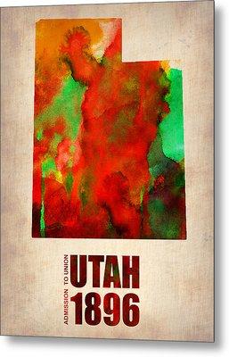 Utah Watercolor Map Metal Print by Naxart Studio