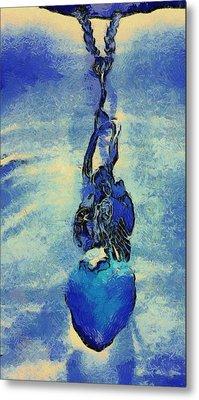 Van Gogh Starry Night Style Heart Metal Print by Lorri Crossno