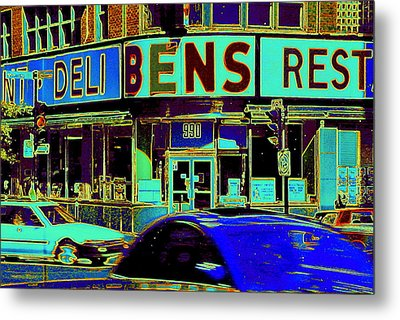 Vanishing Montreal Memories Ben's Historical Restaurant Window So Many Stories To Tell Metal Print by Carole Spandau