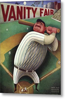 Vanity Fair Cover Featuring Babe Ruth Metal Print by Miguel Covarrubias