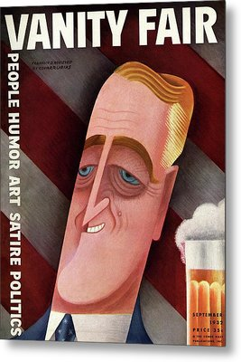 Vanity Fair Cover Featuring Franklin D. Roosevelt Metal Print by Miguel Covarrubias