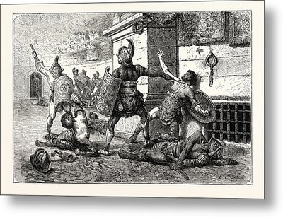 Vanquished Gladiator In The Arena Appealing To The People Metal Print by English School