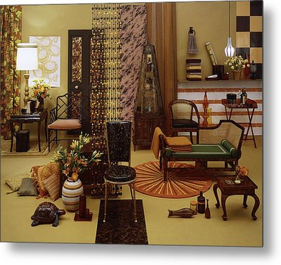 Various Tortoise Shell Furniture And Accessories Metal Print