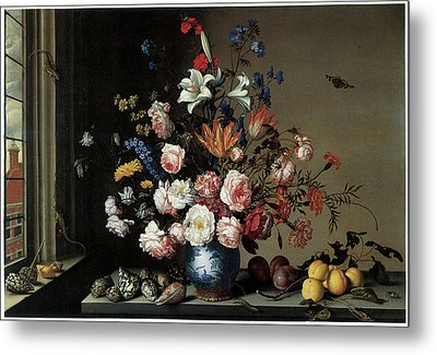 Vase Of Flowers By A Window Metal Print by Balthasar Van Der Ast
