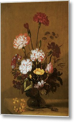 Vase Of Flowers Metal Print by Hans Bollongier