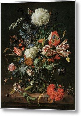 Vase Of Flowers Metal Print by Jan Davidsz De Heem