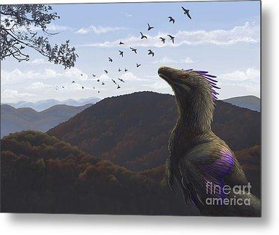 Velociraptor In An Autumn Landscape Metal Print